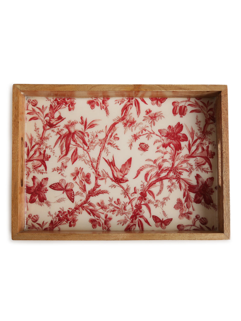 Mango Wood Tray with Enamelling - Sweet Magnoliaa