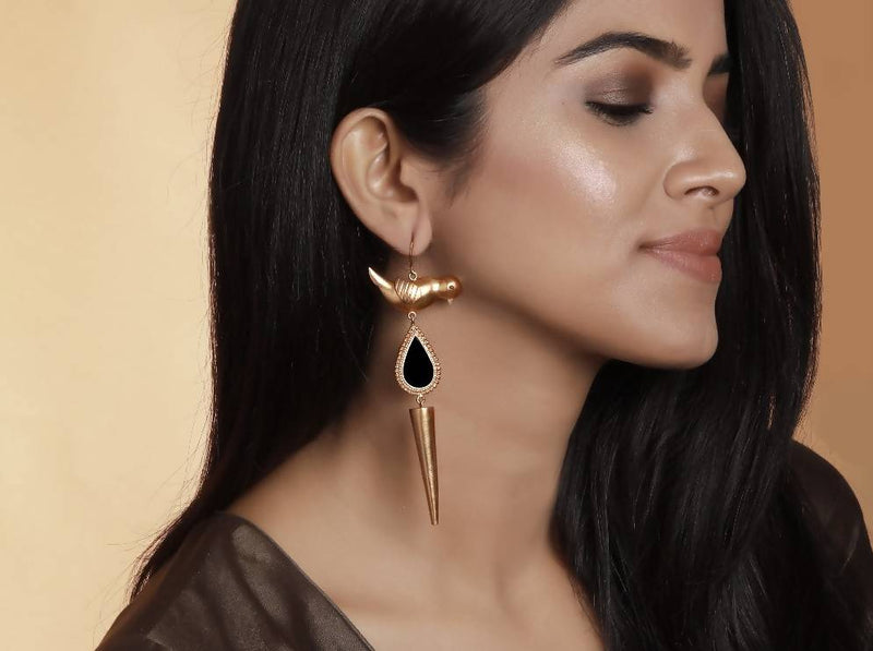 Gold Bird Drop Earrings