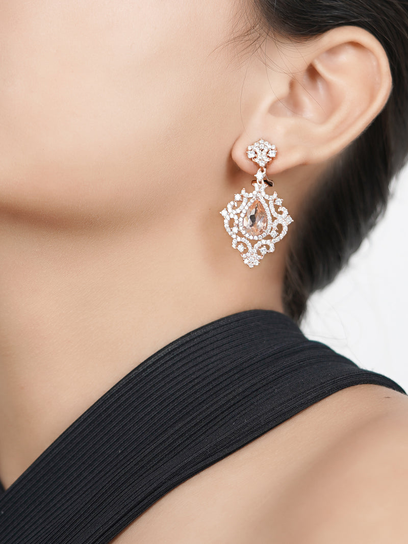 Silver Handmade Earrings Studded With Carbon Created Diamond Gem Stone - Sweet Magnoliaa