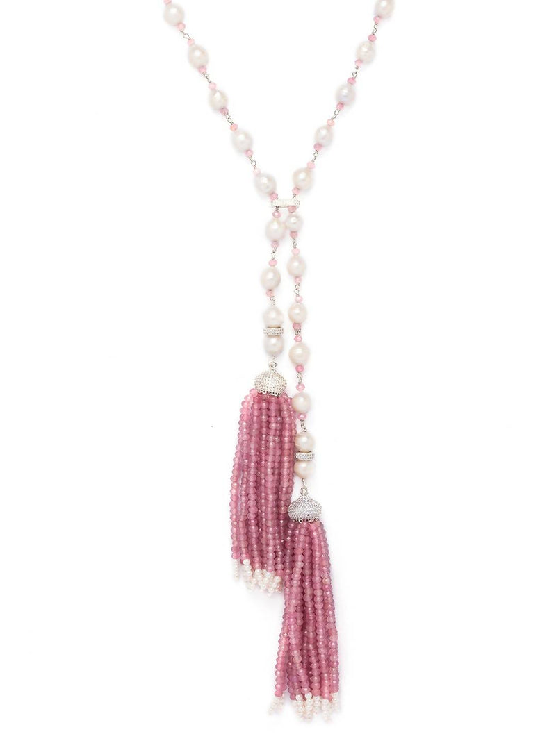 Pinkish-White Single Layer Necklace With Cubic Zirconia Beads.