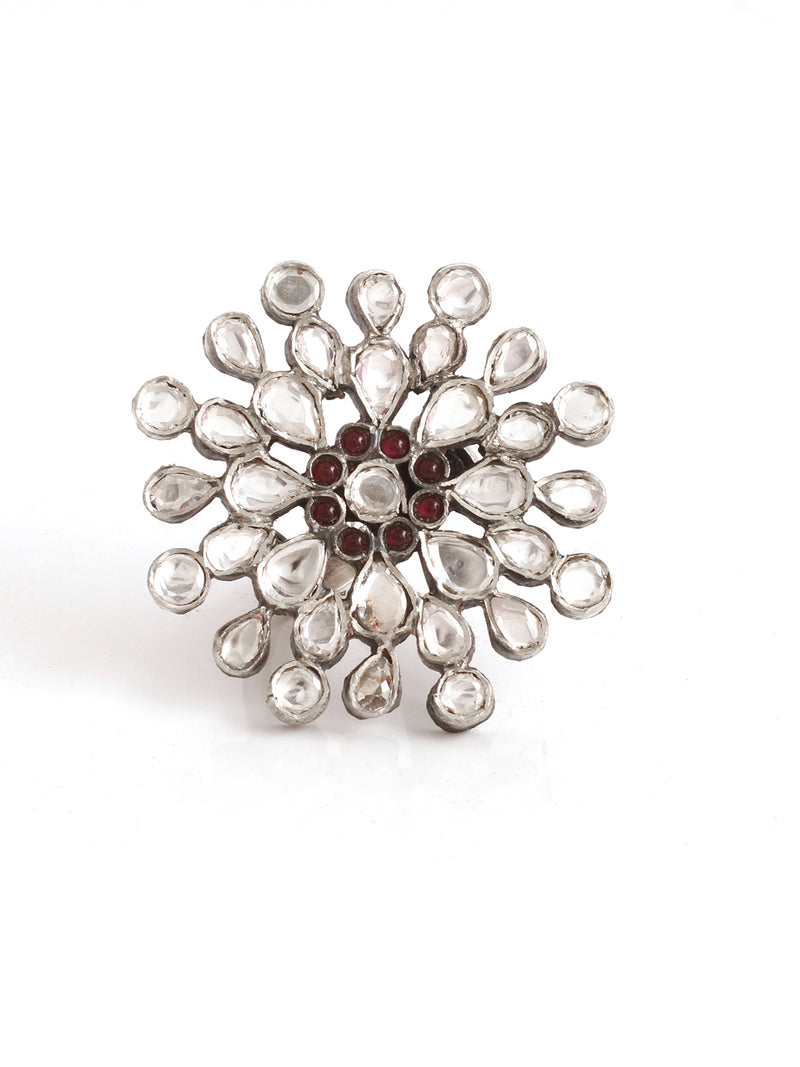 Silver Handmade Ring Studded With Ruby And Kundan Stone - Sweet Magnoliaa