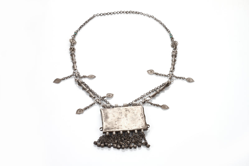 Silver Handmade Studded Necklace With Turquoise Stone - Sweet Magnoliaa