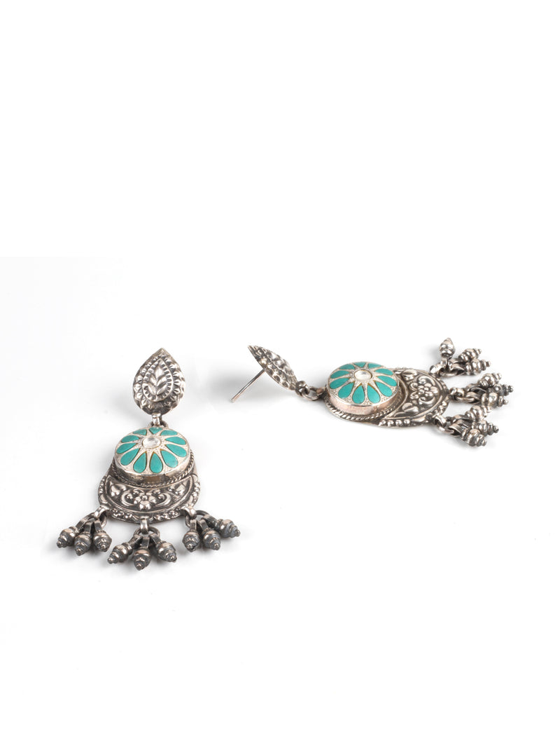 Silver Handmade Studded Earrings With Turquoise And Kundan Stone - Sweet Magnoliaa