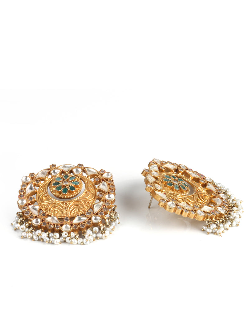 Silver Handmade Earrings With 24K Gold Plating With Kundan And Emerald Stone - Sweet Magnoliaa