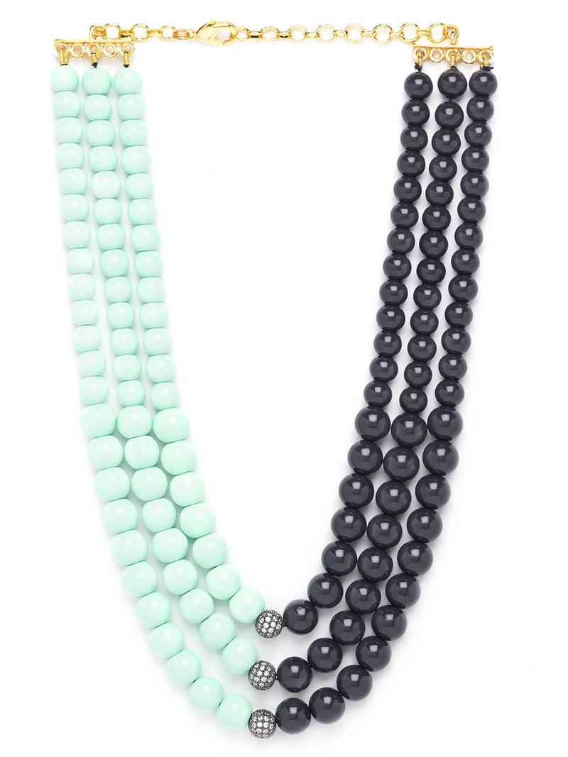 Bluish-Black Brass Necklace Sporting Cubic Zirconia Shell Pearls