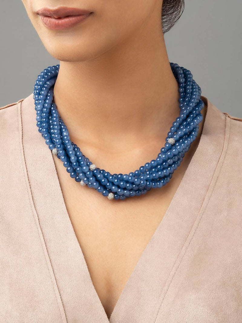 Blue Necklace With Cubic Zirconia Agate Beads.
