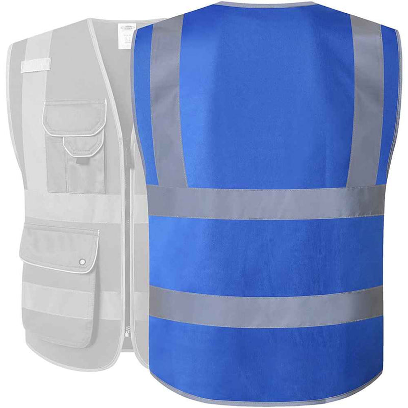 JKSafety 3 Pockets Class 2 High Visibility Safety Vest, Black -Safety Vests- JKSafety