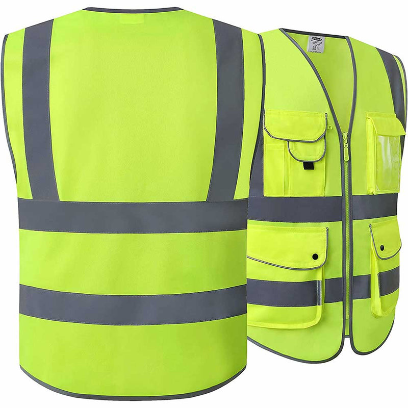 JKSafety 9 Pockets Class 2 High Visibility Safety Vest, Yellow -Safety Vests- JKSafety