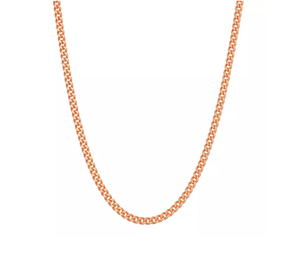14K ROSE GOLD OVER SILVER CURB CHAIN NECKLACE