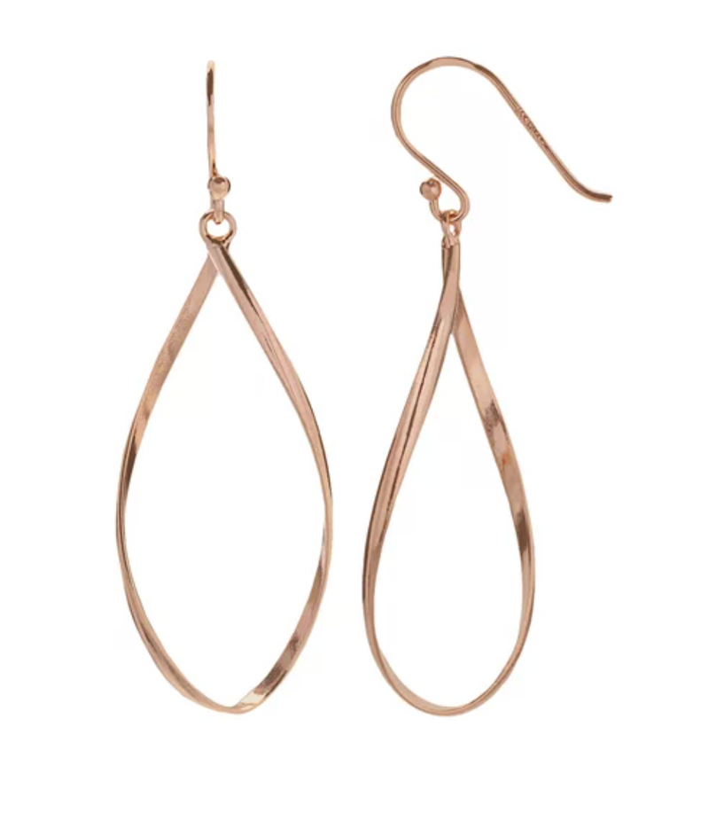 18k ROSE GOLD TWIST TEARDROP EARING
