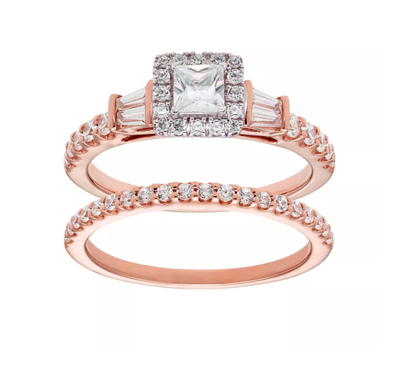 14k ROSE GOLD 1 CARAT IGL CERTIFIED DIAMOND HALO ENGAGEMENT RING SET