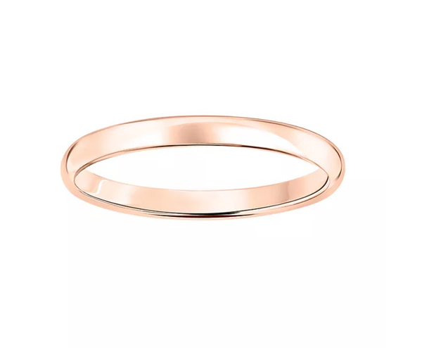 10K ROSE GOLD 2 MM POLISHED DOME WEDDING BAND