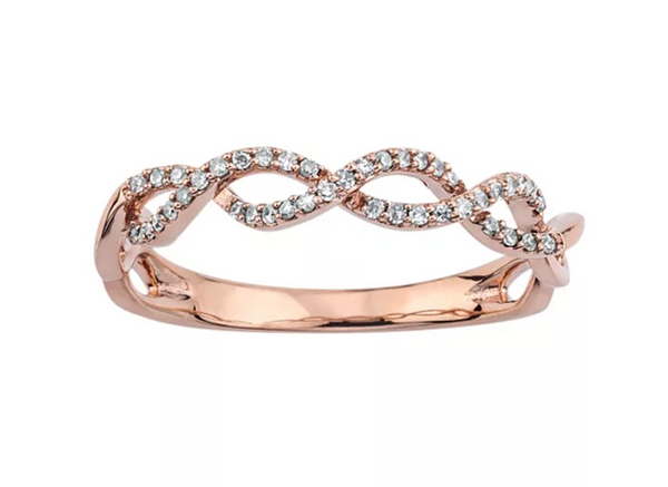 1/8 CARAT DIAMOND 10K ROSE GOLD INFINITY RING