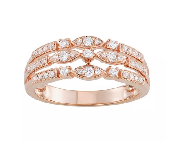 10k ROSE GOLD 3/8 CARAT DIAMOND TRIPPLE ROW RING