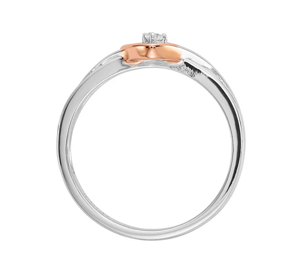 TWO TONE 10K ROSE GOLD, STERLING SILVER DIAMOND ACCENTED HEART PROMISE RING