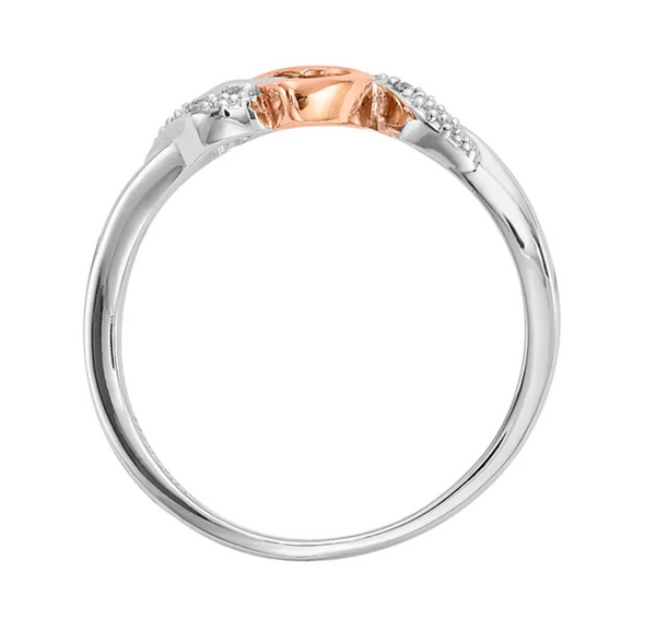 TWO TONE 10K ROSE GOLD, STERLING SILVER DIAMOND ACCENTED DOUBLE HEART PROMISE RING