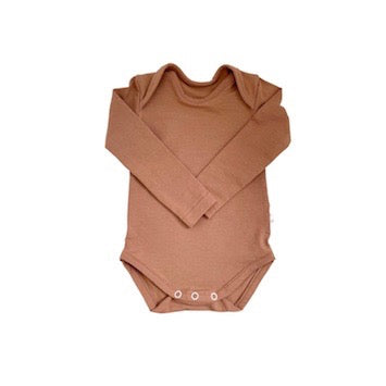 organic cotton long sleeve baby body suit, butterscotch colour, with snaps for easy nappy change