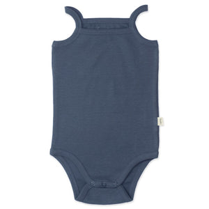 organic cotton spaghetti strap bodysuit for baby and toddler, blue ocean colour, with snaps