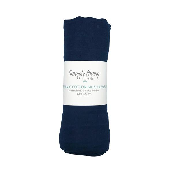 Load image into Gallery viewer, organic cotton muslin swaddle, wrap, navy colour, 120cmx 120cm