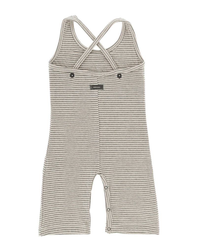 organic cotton overalls, for babies and toddlers, unisex, gender neutral, beige, dark green striped. snaps at inner leg for easy changing.