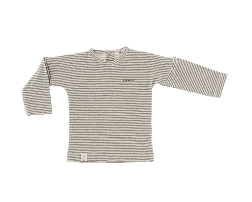 Organic cotton long sleeve shirt for babies and toddlers, soft beige and a fine dark green stripe, snaps at the back for easy changing. Little pocket at the bottom front.
