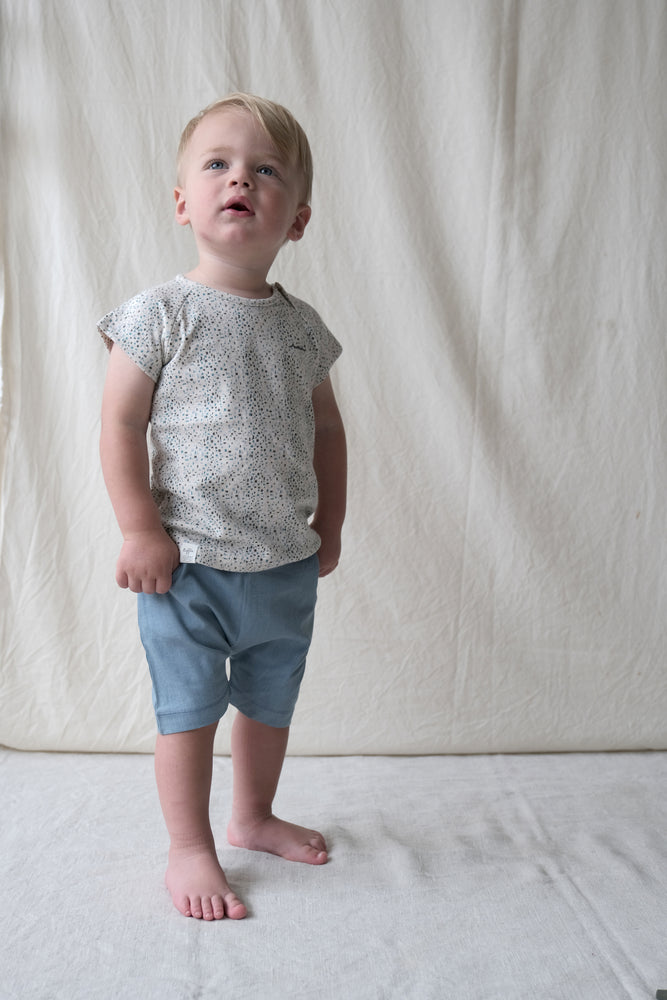 Organic cotton denim shorts for baby, toddler. Light soft denim with pocket