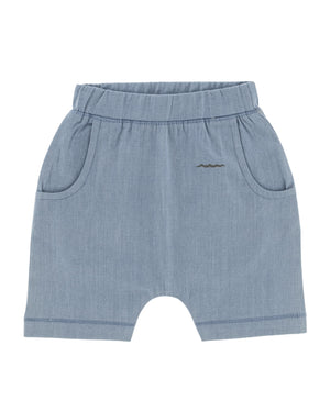 Organic cotton denim shorts for baby, toddler. Light soft denim with pockets.