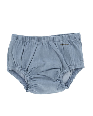 Organic cotton denim bloomers for babies and toddlers, soft light blue denim