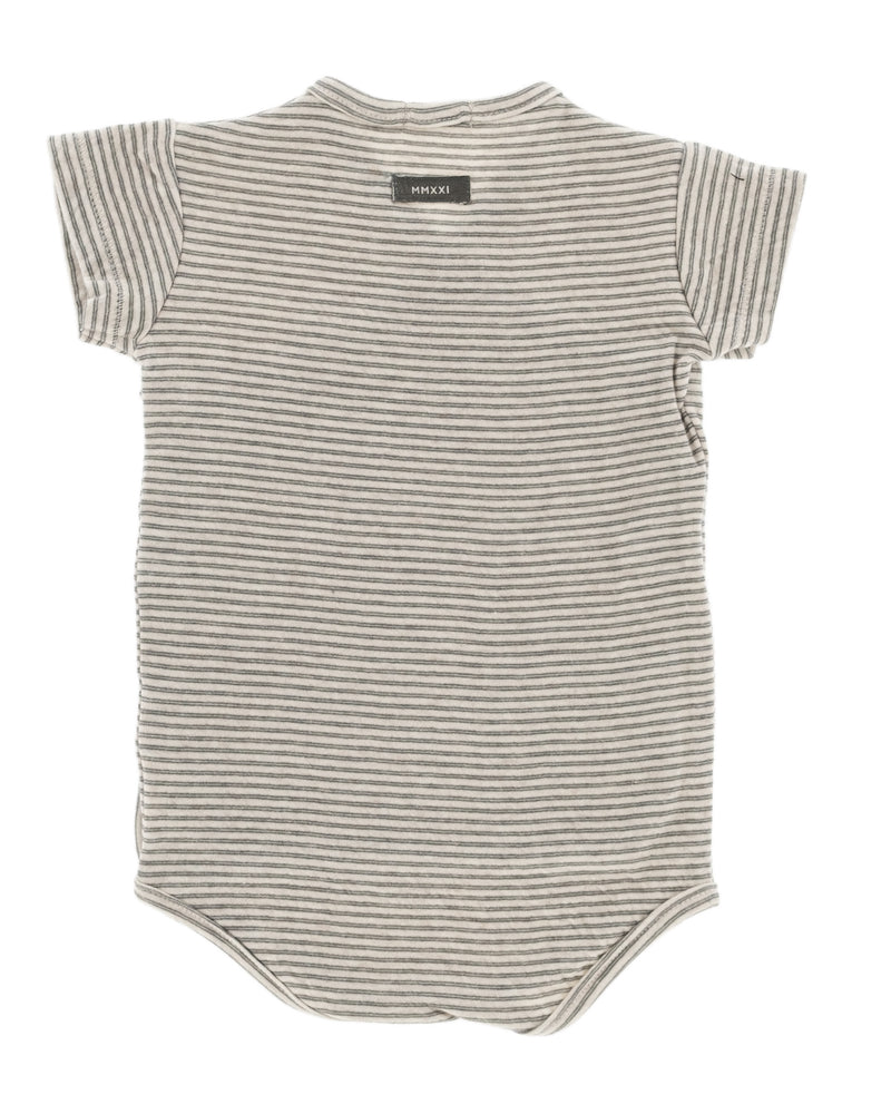 Organic cotton kimono bodysuit for babies, beige, grey, dark green striped, with snaps for easy changing