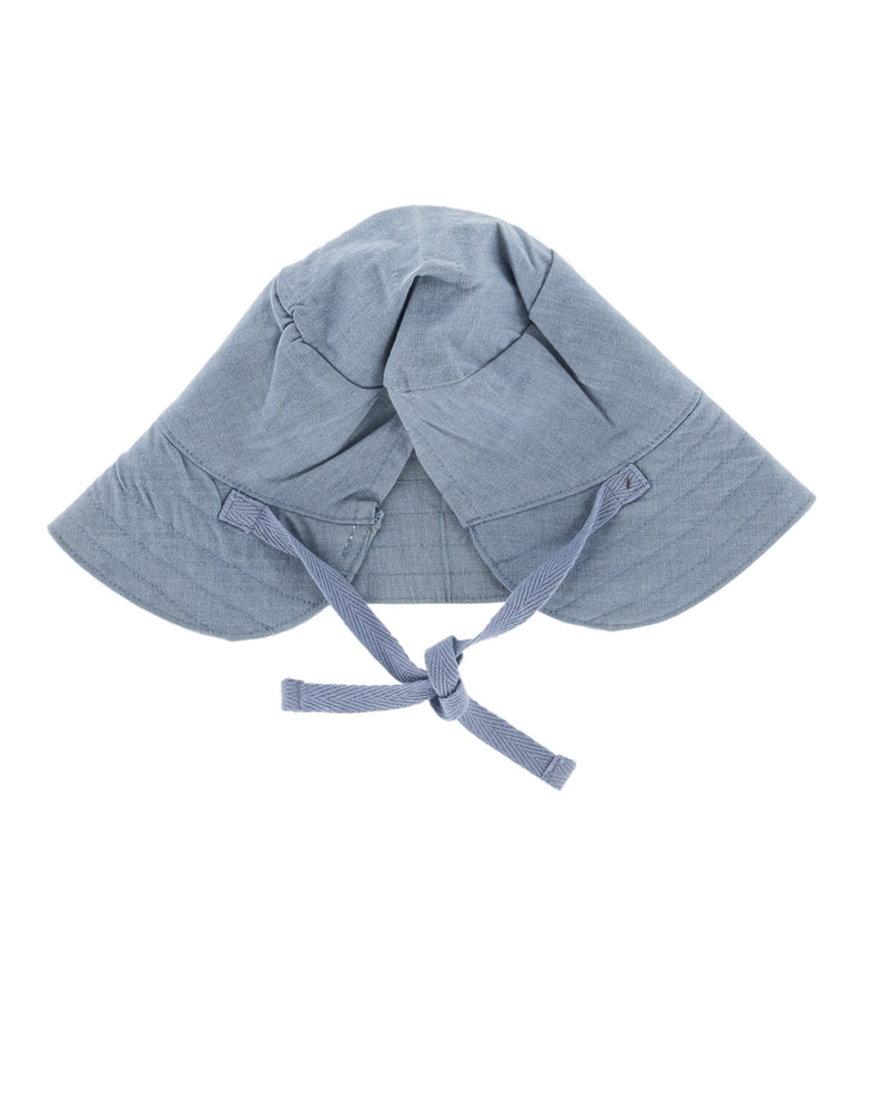 Denim Sun Hat for babies and toddlers, organic cotton, ties to secure the hat, wide brim to protect face from sun.