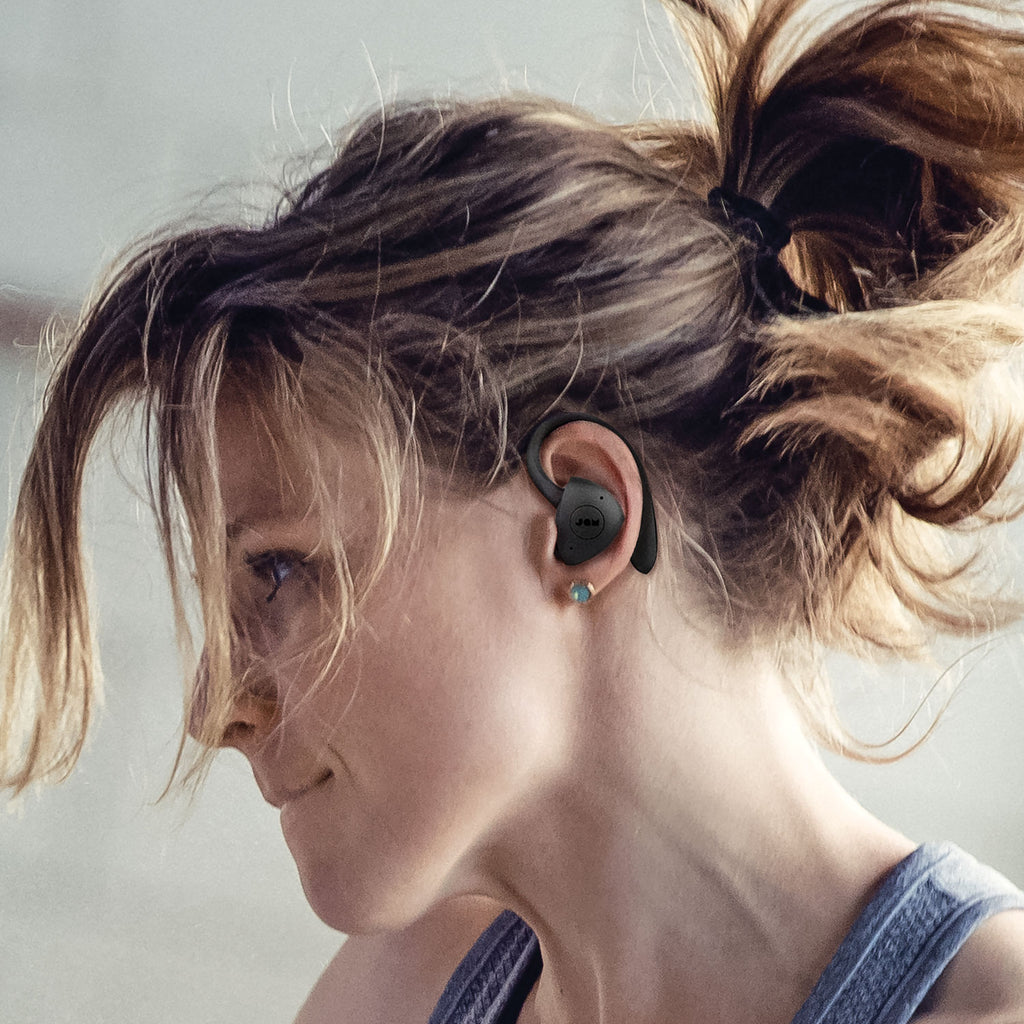 Woman wearing Jam Audio TWS Sport Truly Wireless Earbuds Black closeup