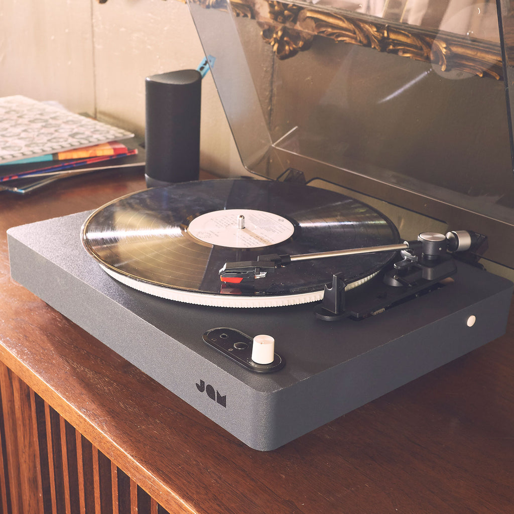 Jam Audio Spun Out Vinyl Turntable 3/4 view on bench
