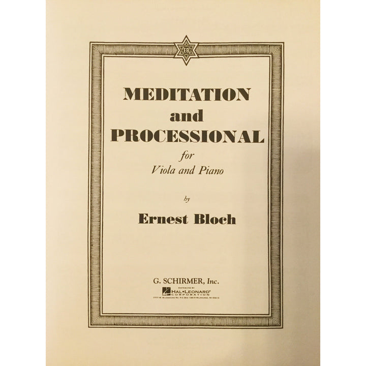 Meditation and Processional by Ernest Bloch - davidsonviolins.com