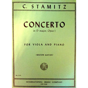 Concerto in D major, Opus 1 by C. Stamitz for Viola and Piano