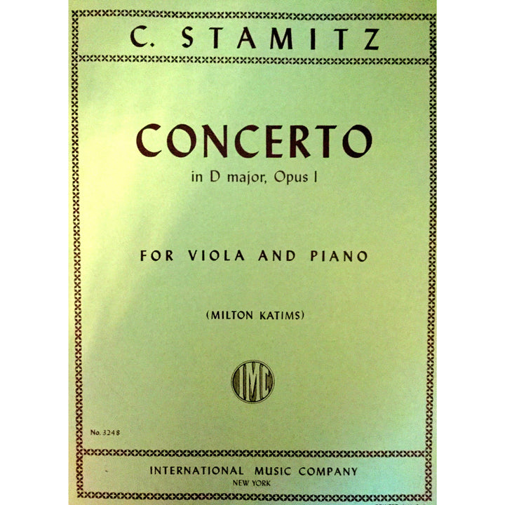 Concerto in D major, Opus 1 by C. Stamitz for Viola and Piano - davidsonviolins.com