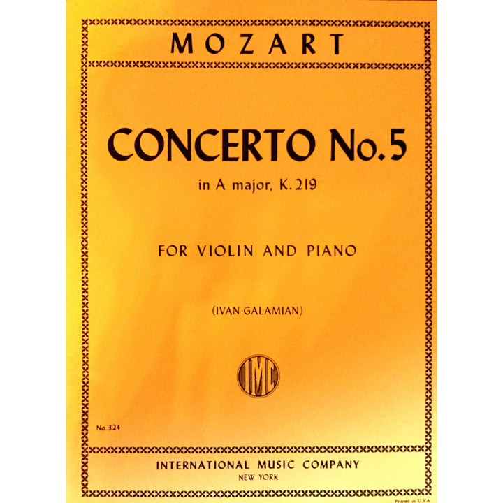 Mozart Concerto no. 5 in A major, K.219 for Violin and Piano - davidsonviolins.com