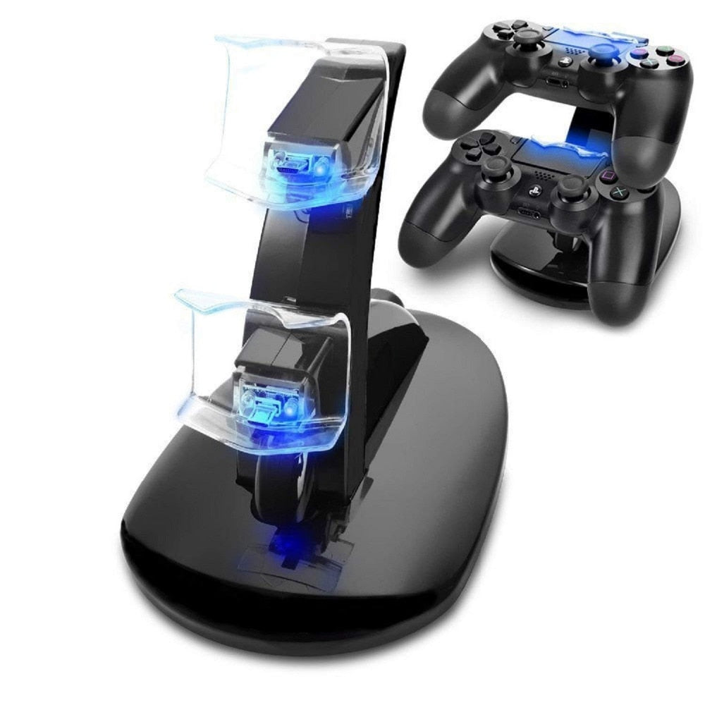 Controller Charger Dock LED Dual USB For Playstation 4