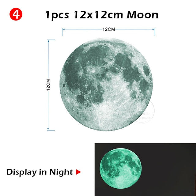 Luminous Moon and Stars Wall Stickers