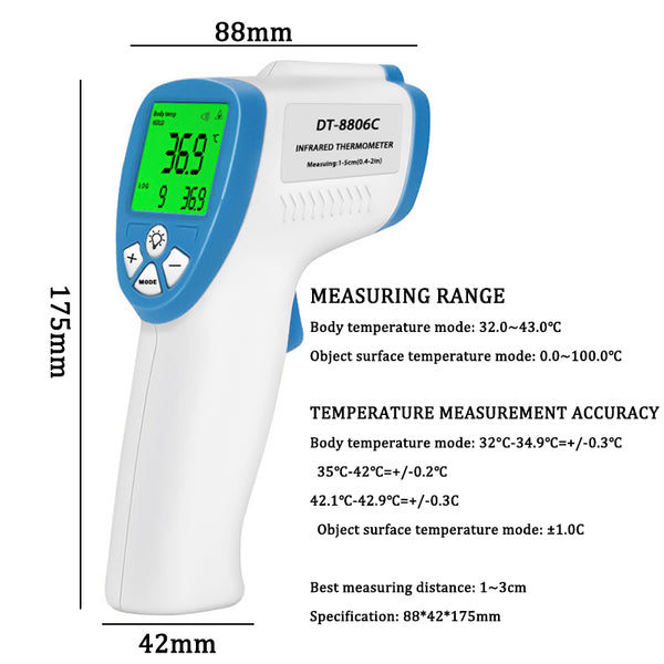 LCD Display Digital Infrared Forehead Thermometer Non Contact Infrared Thermometer Baby Adult Body Temperature Fever Measure