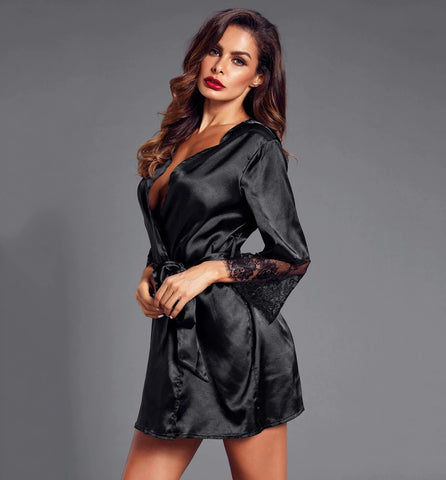 Women Lingerie dressing gown with lace