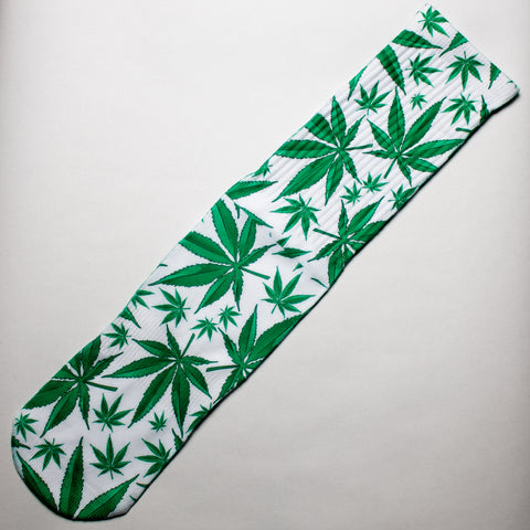 Green Cannabis Leaf Dress Socks