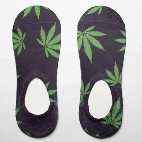 Black Cannabis Leaf No Show Socks