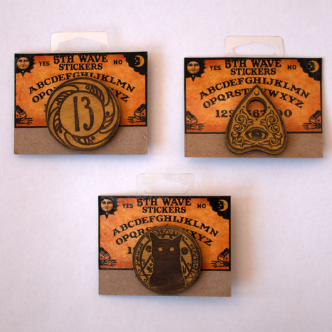 Spooky Wooden Pin Pack (3)