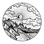 Mountain Scene 1 Sticker