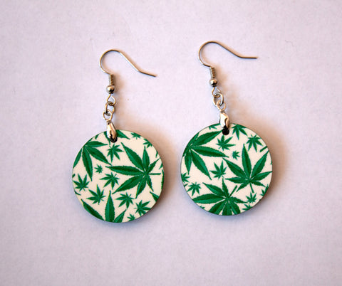 Cannabis Leaf Women's Circle Earrings