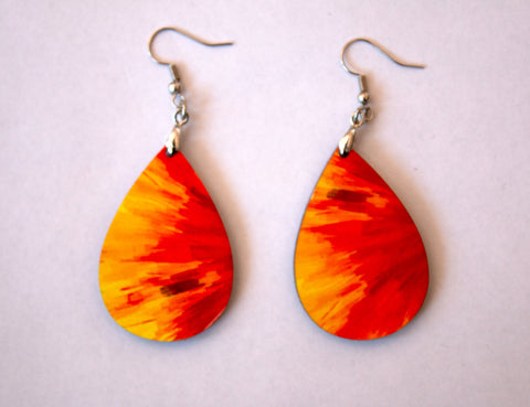 Orange Color Burst Women's Earrings