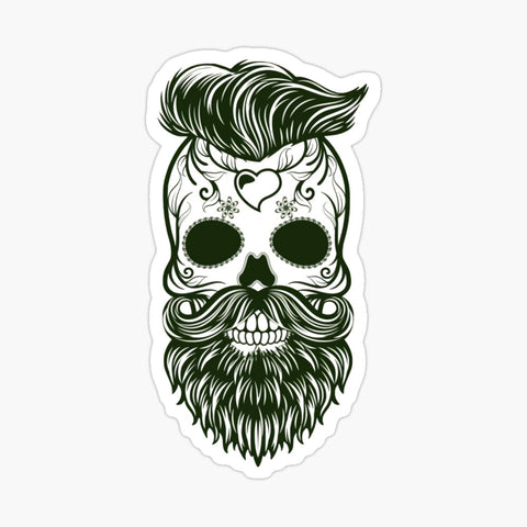 Bearded Sugar Skull Sticker