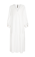 Mother Of Pearl V-Neck Dress With Pleated Sleeve & Gathered Skirt