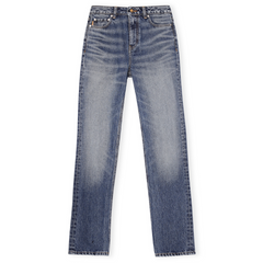 Ganni Washed Denim High-waisted Straight Jeans