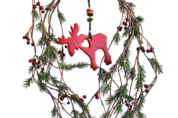 Leather Animal Christmas Tree Decorations, Christmas Moose Ornament.